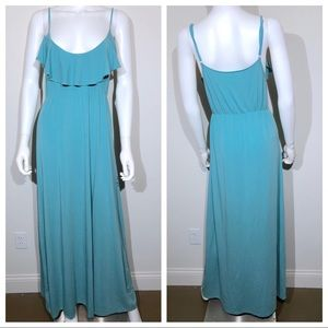 Garnet Hill Maxi Dress XS Teal Ruffle Bust